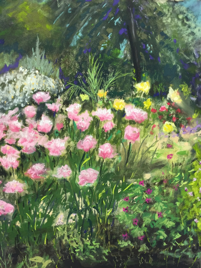 Tuin van Cafe Baudy in Giverny 50 x 60 cm (2015) € 350
