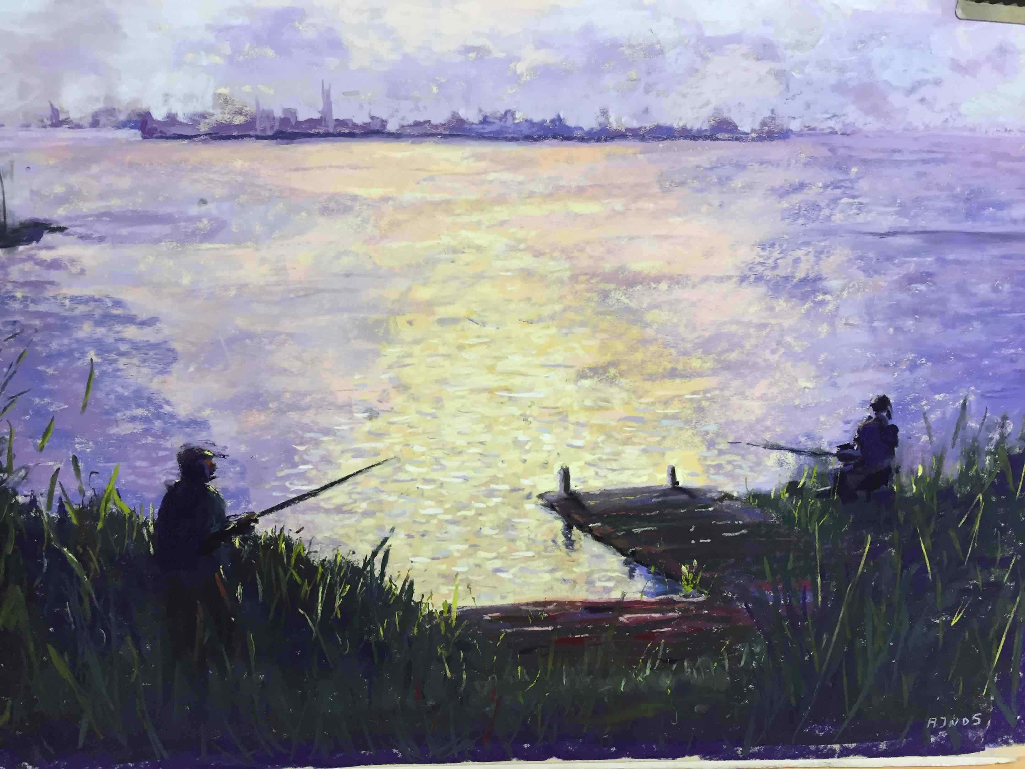 Vissertje in Friesland (50 x 60 cm) verkocht